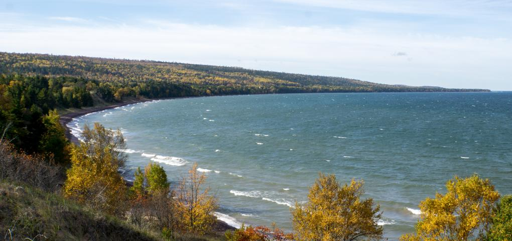 looking out over bay on Lake Superior from the vantage point of a high dune
