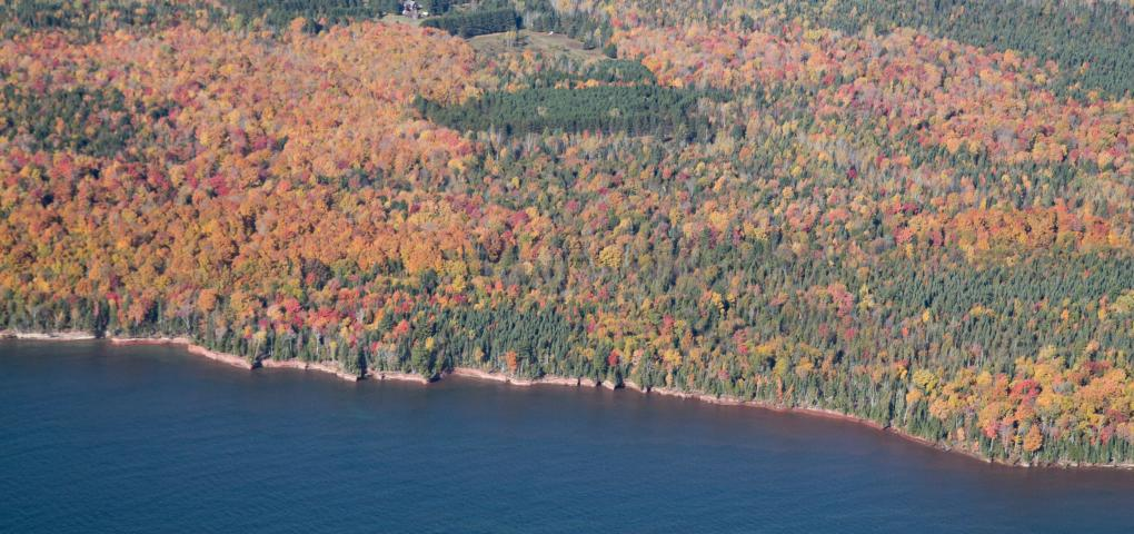 another aerial view with brighter fall colors like a patchwork quilt