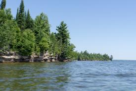 Lake superior shoreline thick with conifers